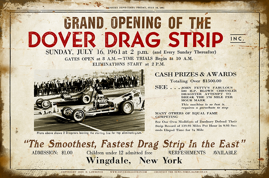 Dover Drag Strip Grand Opening Aluminum Sign