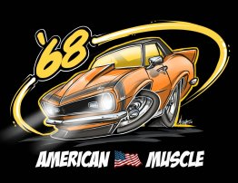 American Muscle '68 Orange Shirt