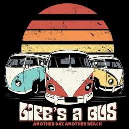 Life's a Bus Retro Sunset Shirt